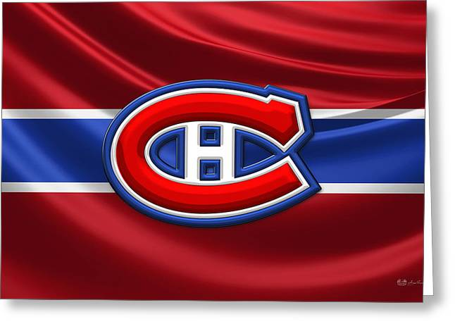 Montreal Canadiens - 3d Badge Over Silk Flag Greeting Card by Serge Averbukh