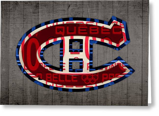 Canada Mixed Media Greeting Cards - Montreal Canadiens Hockey Team Retro Logo Vintage Recycled Quebec Canada License Plate Art Greeting Card by Design Turnpike