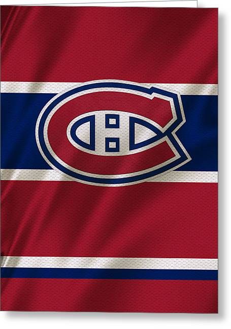Stick Greeting Cards - Montreal Canadiens Uniform Greeting Card by Joe Hamilton