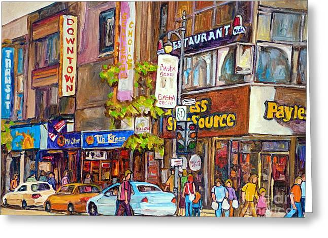 Montreal Stores Paintings Greeting Cards - Montreal Downtown Stores Greeting Card by Carole Spandau