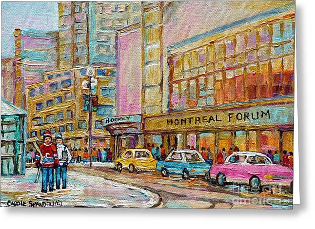 Hockey Paintings Greeting Cards - Montreal Forum Canadiens Hockey Landmark Vintage Scene Carole Spandau Greeting Card by Carole Spandau