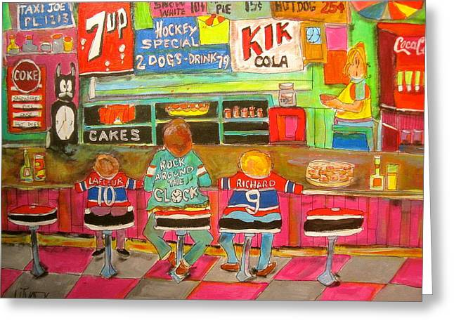 Montreal Hockey Tradition Greeting Card by Michael Litvack