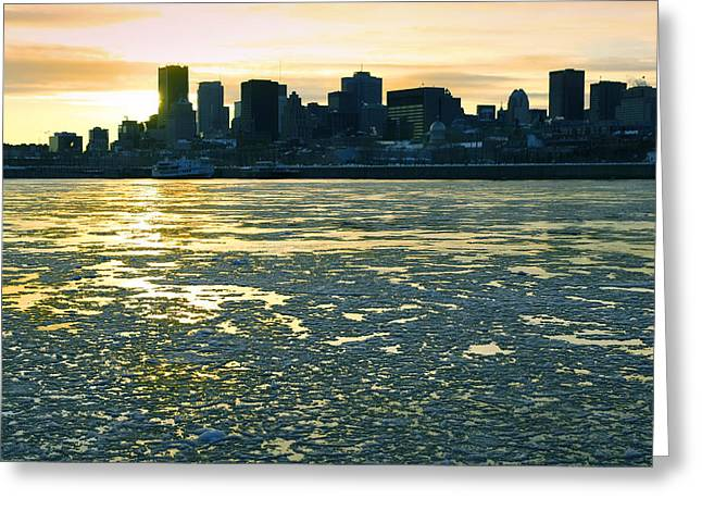 St. Laurent Greeting Cards - Montreal in winter Greeting Card by Isabel Poulin