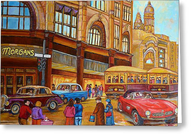 Ste Catherine Greeting Cards - Montreal Memories-streetcars-morgans Department Store At St.catherine And Union Greeting Card by Carole Spandau