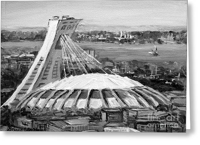 Stadium Scene Paintings Greeting Cards - Montreal Olympic Stadium And Olympic Park-home To Biodome And Velodrome-montreal In Black And White Greeting Card by Carole Spandau