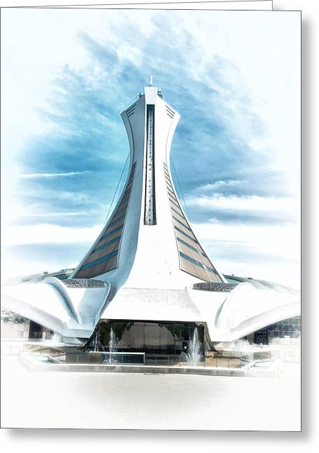 Canada Sports Paintings Greeting Cards - Olympic Stadium In Montreal Greeting Card by Boris Mordukhayev