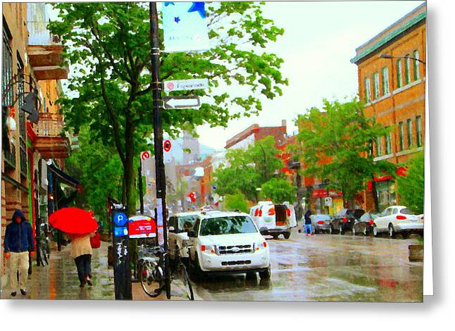 The Plateaus Greeting Cards - Montreal On A Rainy Day The Red Umbrella Along Avenue Esplanade Street Scenes Carole Spandau Greeting Card by Carole Spandau