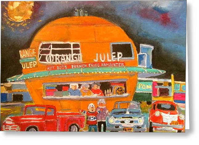 Orange Julep Greeting Cards - Montreal Orange Julep 1963 Greeting Card by Michael Litvack