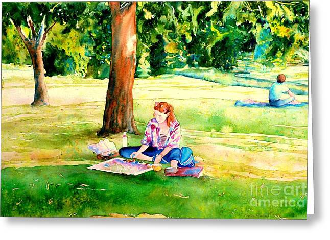 Park Scene Paintings Greeting Cards - Montreal Paintings Artist In The Park Westmount Scenes Carole Spandau Greeting Card by Carole Spandau