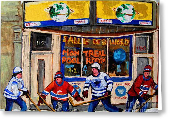 Hockey Paintings Greeting Cards - Montreal Pool Room City Scene With Hockey Greeting Card by Carole Spandau