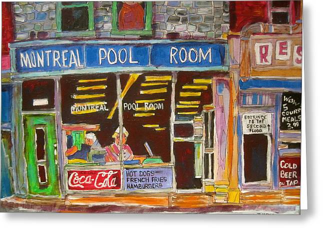 Litvack Greeting Cards - Montreal Pool Room Greeting Card by Michael Litvack