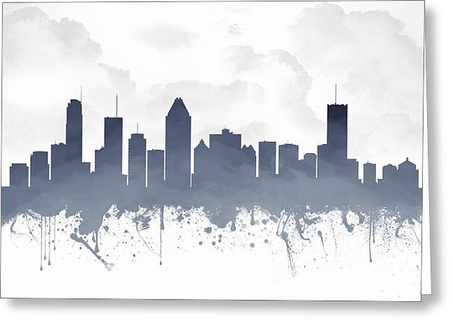 Canada Mixed Media Greeting Cards - Montreal Quebec Skyline - blue 03 Greeting Card by Aged Pixel