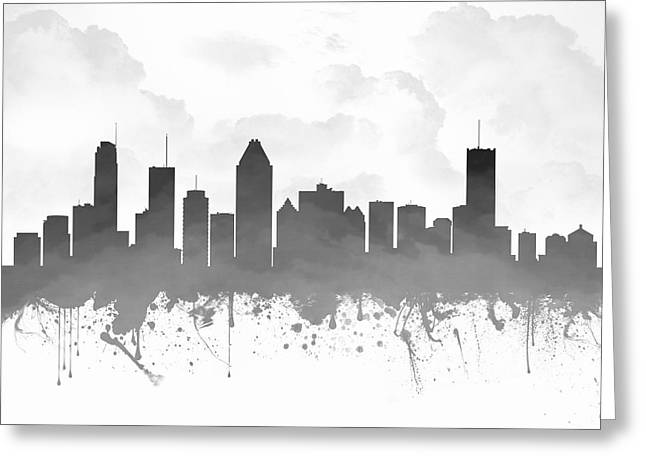 Town Mixed Media Greeting Cards - Montreal Quebec Skyline - gray 03 Greeting Card by Aged Pixel