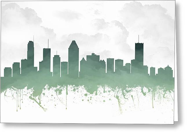 Town Mixed Media Greeting Cards - Montreal Quebec Skyline - teal 03 Greeting Card by Aged Pixel