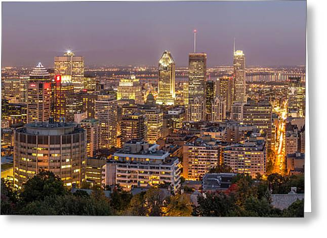 Montreal Street Life Greeting Cards - Montreal Skyline at night Greeting Card by Pierre Leclerc Photography
