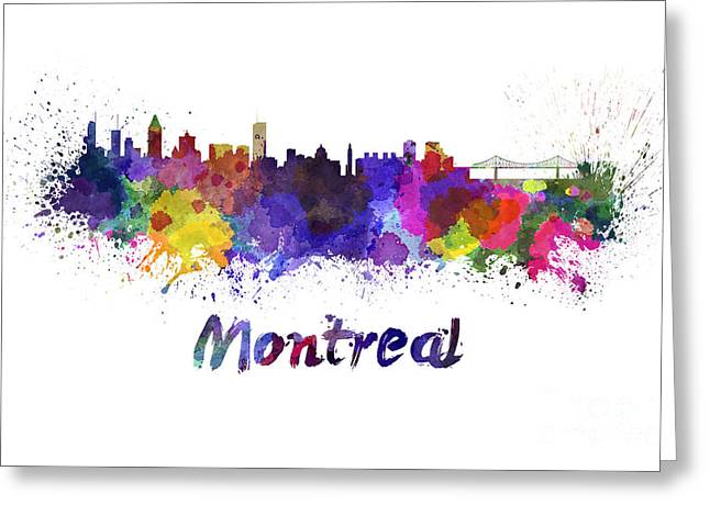 Montreal Landmarks Paintings Greeting Cards - Montreal skyline in watercolor Greeting Card by Pablo Romero