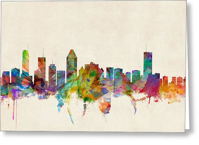 Skyline Greeting Cards - Montreal Skyline Greeting Card by Michael Tompsett