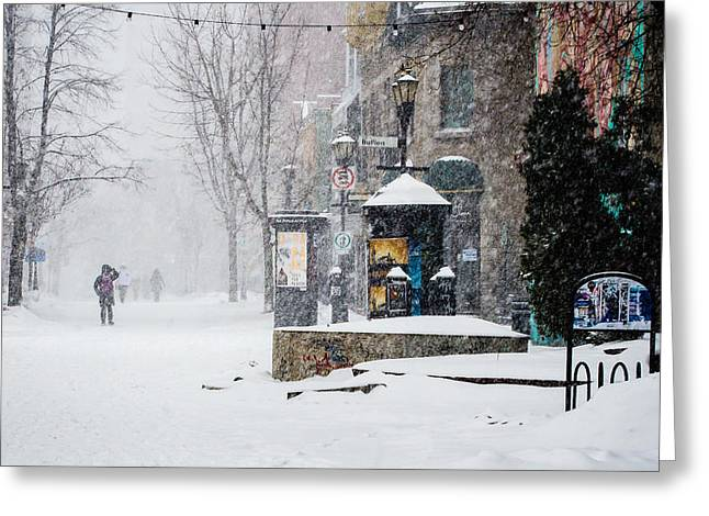 Rue Prince Arthur Greeting Cards - Montreal snow storm Greeting Card by Martin New