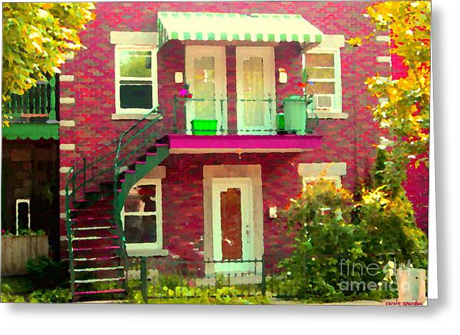 Montreal Stairs Painted Brick House Winding Staircase And Summer Awning City Scenes Carole Spandau Greeting Card by Carole Spandau