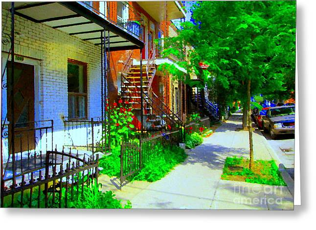 Montreal Stairs Shady Streets Winding Staircases In Balconville Art Of Verdun Scenes Carole Spandau Greeting Card by Carole Spandau