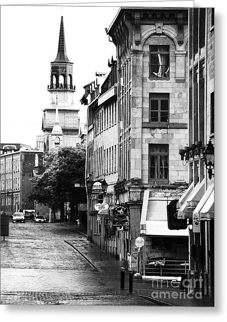 Quebec Province Greeting Cards - Montreal Street in Black and White Greeting Card by John Rizzuto