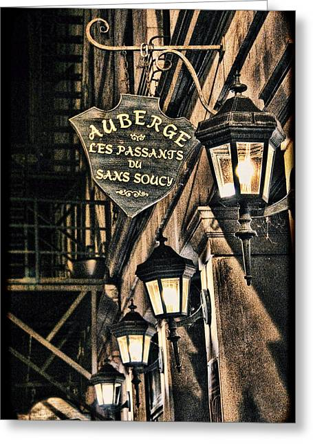 Gass Greeting Cards - Montreal - Street Lamps Light the Way Greeting Card by Lee Dos Santos
