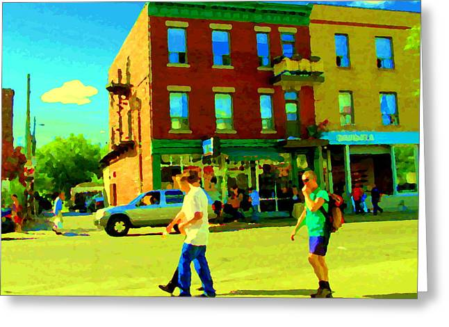 Tea For Two Greeting Cards - Montreal Street Scene Strolling St Viateur Across The Bagel Shop And Davids Tea Carole Spandau  Greeting Card by Carole Spandau
