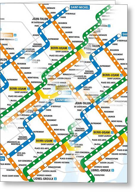 Underground Railroad Digital Art Greeting Cards - Montreal subway map to get lost Greeting Card by Jo Ann