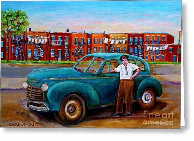 Montreal Memories Greeting Cards - Montreal Taxi Driver 1940 Cab Vintage Car Montreal Memories Row Houses City Scenes Carole Spandau Greeting Card by Carole Spandau