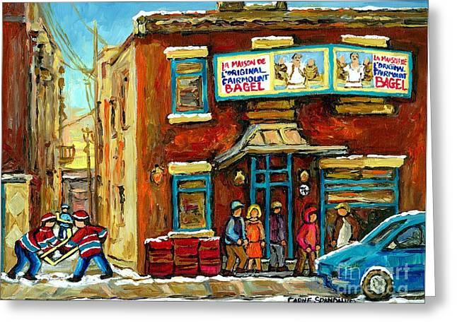 Bagel Shops Greeting Cards - Montreals Favorite Bagel Shop Original Fairmount Bagel Laneway Hockey Game By Carole Spandau Greeting Card by Carole Spandau
