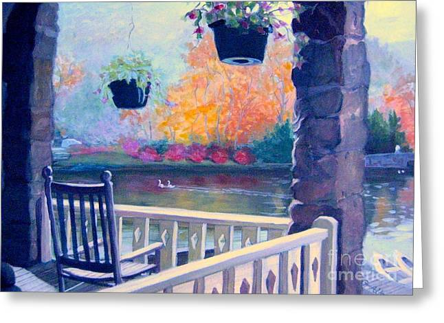 Historic Home Pastels Greeting Cards - Montreat Porch Greeting Card by Gretchen Allen