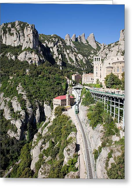 Rack Greeting Cards - Montserrat Mountains Rack Railway in Catalonia Greeting Card by Artur Bogacki