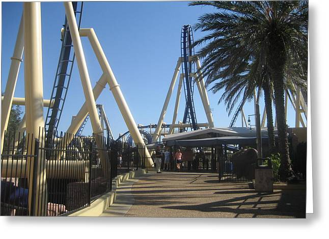 Rollercoaster Greeting Cards - Montu Roller Coaster - Busch Gardens Tampa - 01132 Greeting Card by DC Photographer