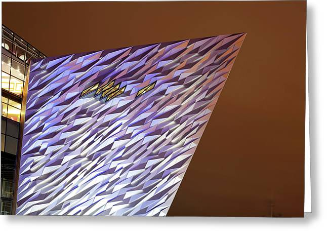 Monument At Night, Titanic Belfast Greeting Card by Panoramic Images