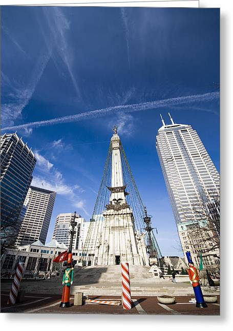 Indiana Christmas Greeting Cards - Monument Circle Greeting Card by Alexey Stiop