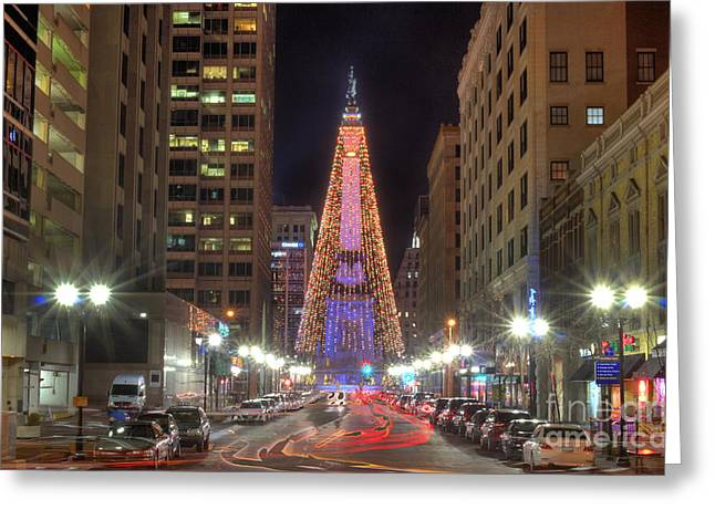 Monument Circle Christmas Tree Greeting Card by Twenty Two North Photography