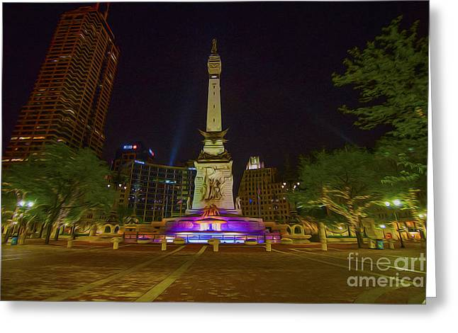 Indianapolis 500 Greeting Cards - Monument Circle Indianapolis Digital Oil Paint Greeting Card by David Haskett
