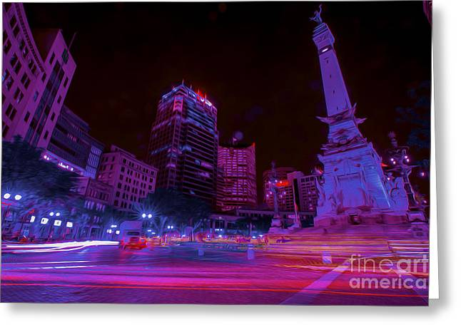 Indianapolis 500 Greeting Cards - Monument Circle Indianapolis Light Streaks Night Greeting Card by David Haskett