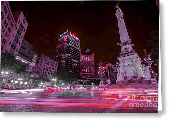 Indianapolis 500 Greeting Cards - Monument Circle Indianapolis Light Streaks No Yellow Greeting Card by David Haskett