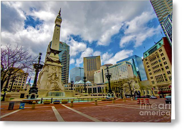 Indianapolis 500 Greeting Cards - Monument Circle Indianapolis Wide Greeting Card by David Haskett