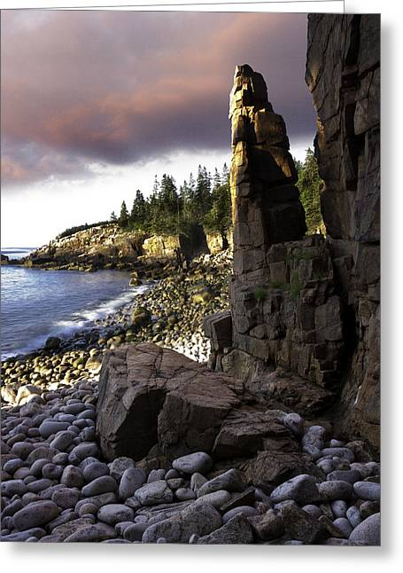 Maine Shore Greeting Cards - Monument Cove Sunrise 4984 Greeting Card by Brent L Ander