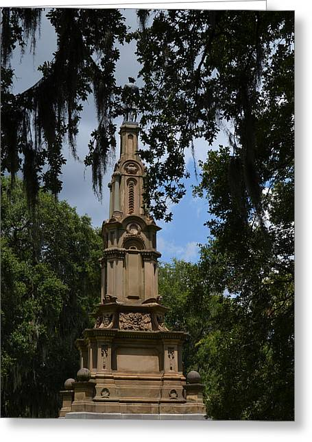 Confederate Monument Greeting Cards - Monument in Forsyth Park Greeting Card by Grace Lee