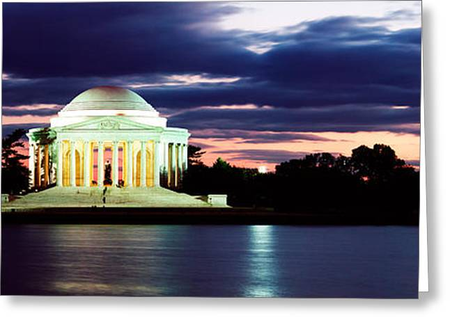 Jefferson Memorial Greeting Cards - Monument Lit Up At Dusk, Jefferson Greeting Card by Panoramic Images