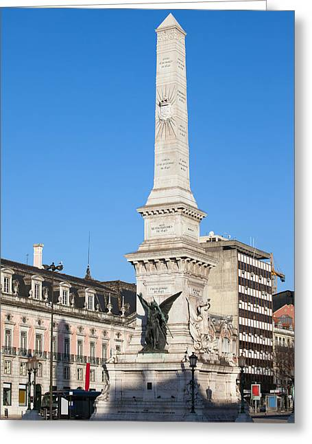 Liberation Greeting Cards - Monument on Restauradores Square in Lisbon Greeting Card by Artur Bogacki