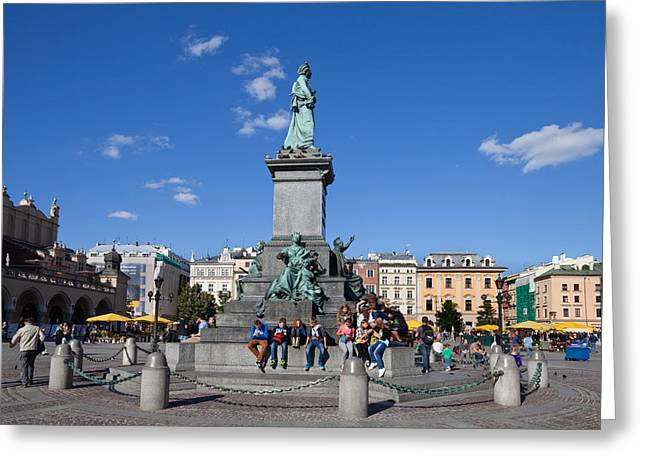 Market Square Greeting Cards - Monument To Adam Mickiewicz, The Great Greeting Card by Panoramic Images