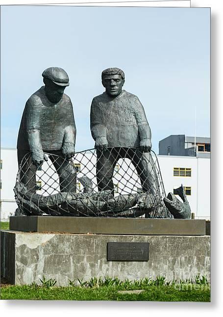 Icelandic Fish Greeting Cards - Monument to fishermans of Iceland at Isafjordur Iceland Greeting Card by Aleksandar Mijatovic