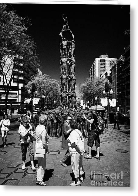 Main Street Greeting Cards - Monument To The Castellers On Rambla Nova Avenue In Central Tarragona Catalonia Spain Greeting Card by Joe Fox