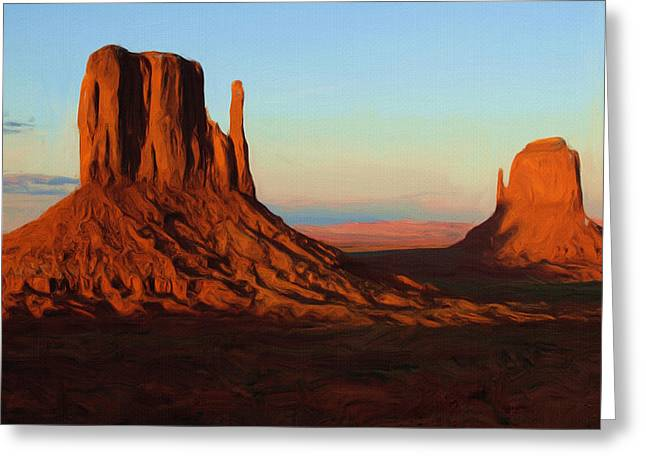 Outdoors Greeting Cards - Monument Valley 2 Greeting Card by Ayse Deniz