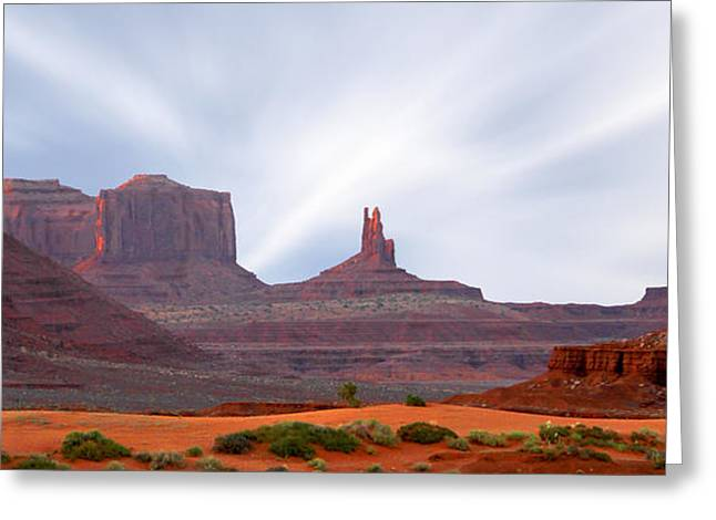 Nations Greeting Cards - Monument Valley at Sunset Panoramic Greeting Card by Mike McGlothlen