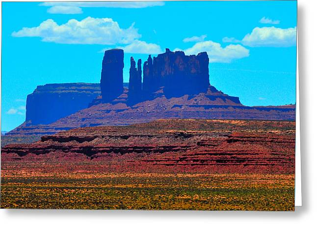 Mitchell Butte Greeting Cards - Monument Valley Blue Greeting Card by Ruben Barbosa